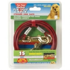 Four Paws Medium Weight Dog Tie Out Cable Red - 30'