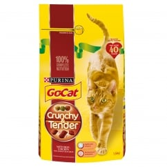 Go Cat Crunchy & Tender Adult Cat with Beef, Chicken & Added Vegetables Dry Food 1.5kg