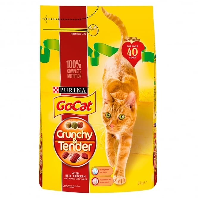 Go Cat Crunchy & Tender Adult Cat with Beef, Chicken & Added Vegetables Dry Food 3kg