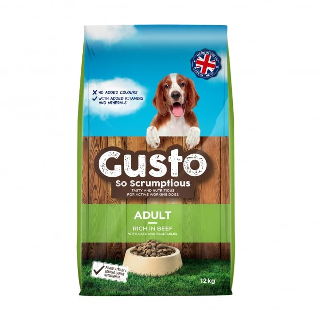 Gusto Adult Dog Food Rich In Beef & Vegetables 12kg