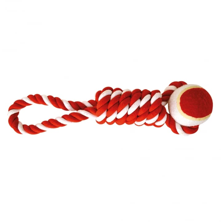 Happy Pet Festive Candy Stripe Tennis Ball Coil Tugger Rope Dog Toy