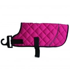 Happy Pet Go Walk Quilted Classic Water Resistant Dog Coat Raspberry 14""