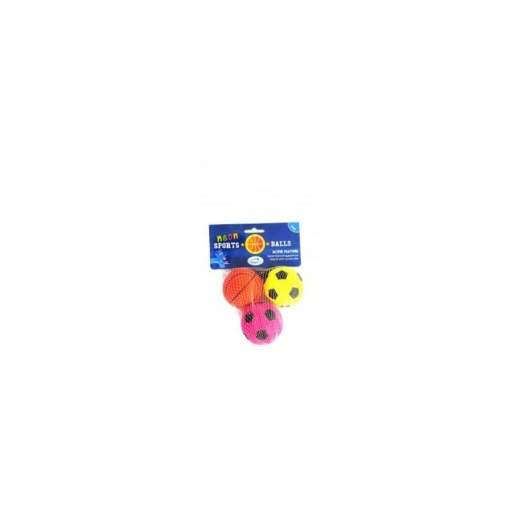 Happy Pet Neon Sports Rubber Ball Dog Toy Pack 3