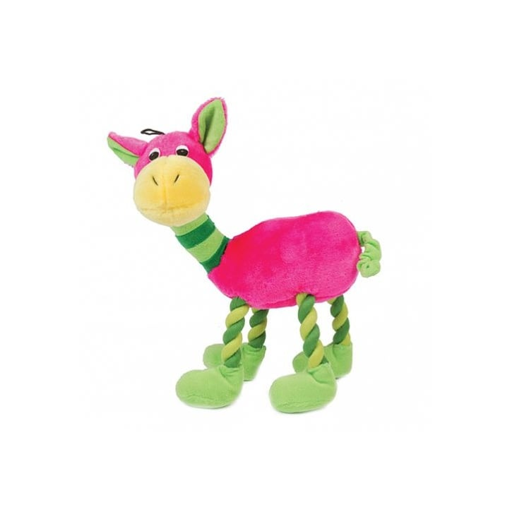 Happy Pet Plush Animal with Rope Legs Pink