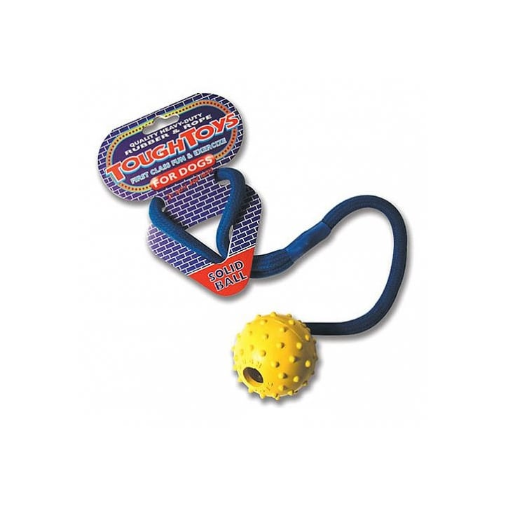 Happy Pet Rubber Studded Rope Ball Dog Toy