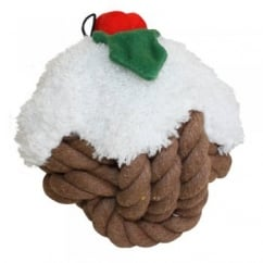 Supersize Knotties Head Christmas Pudding Cotton Dog Toy 14cm