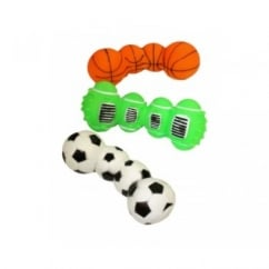 Vinyl Sports Ball Dumbell Dog Toy