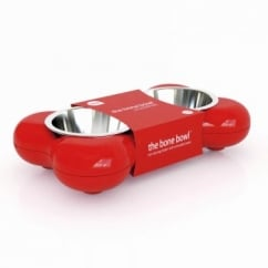 Dog Bowl Bone - Red