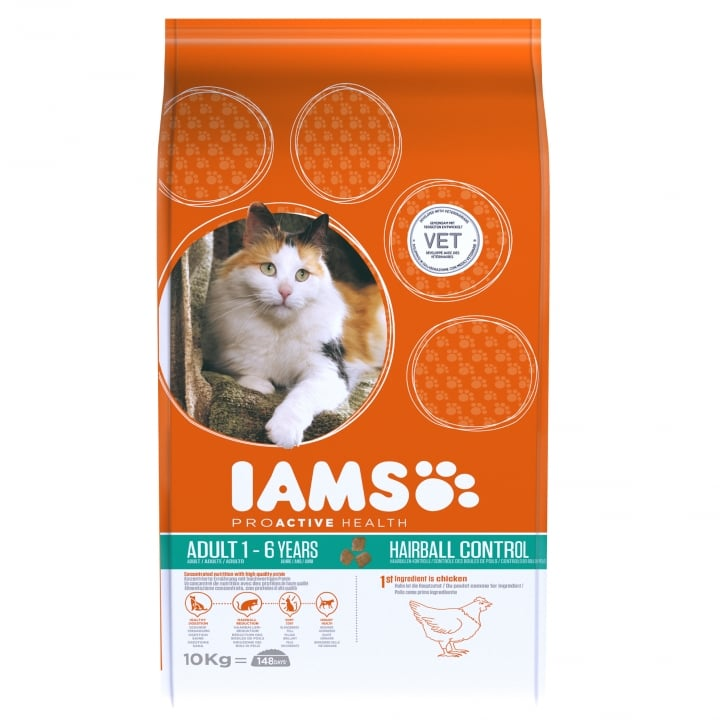 Iams Adult Cat Hairball Control Cat Food 10kg