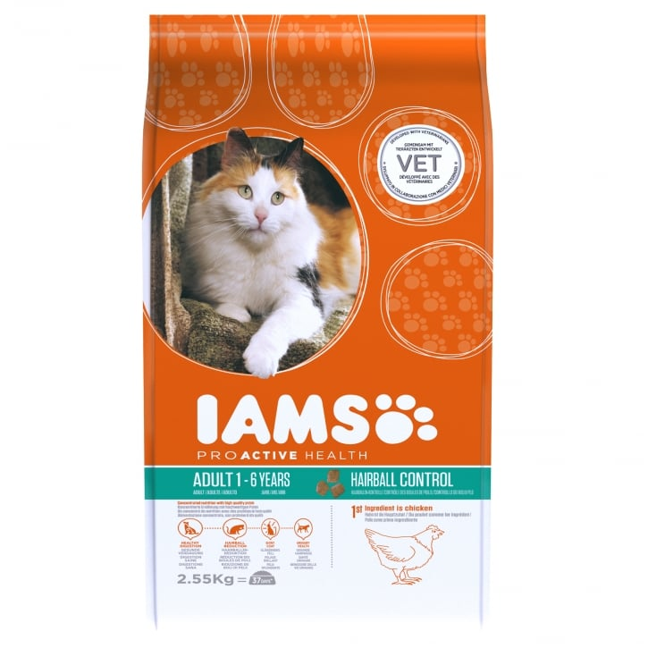 Iams Adult Cat Hairball Control Cat Food 2.55kg