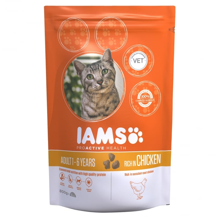Iams Adult Cat In Chicken Cat Food 800g