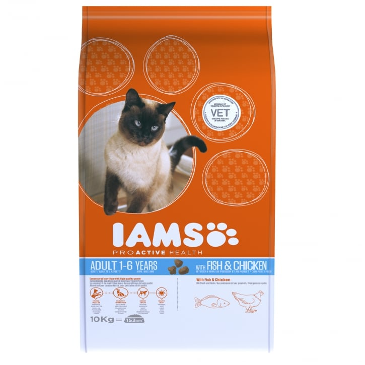 Iams Adult Cat In Fish & Chicken Cat Food 10kg