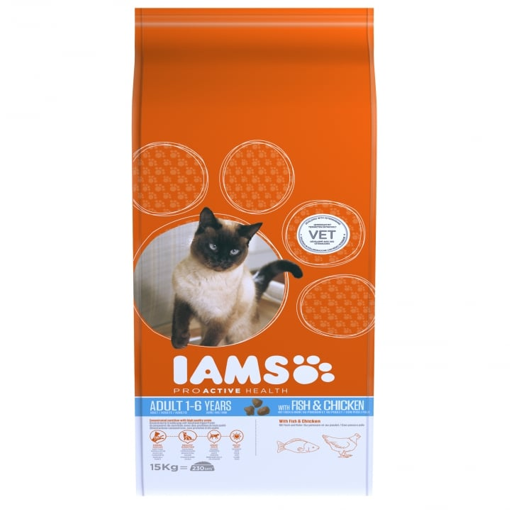 Iams Adult Cat In Fish & Chicken Cat Food 15kg