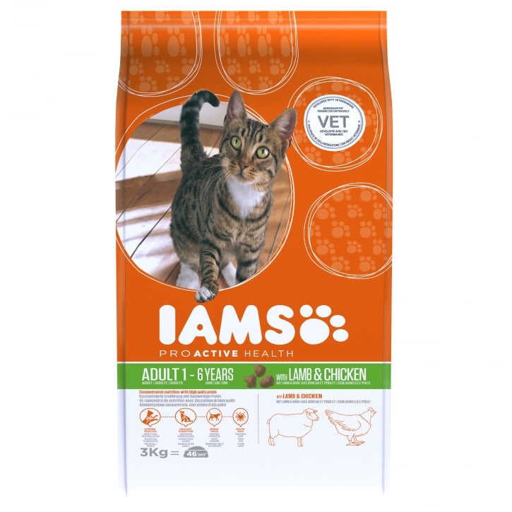 Iams Adult Cat In Lamb & Chicken Cat Food 3kg
