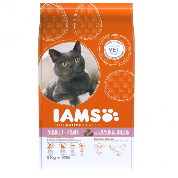 Iams Adult Cat with Salmon & Chicken Cat Food 3kg