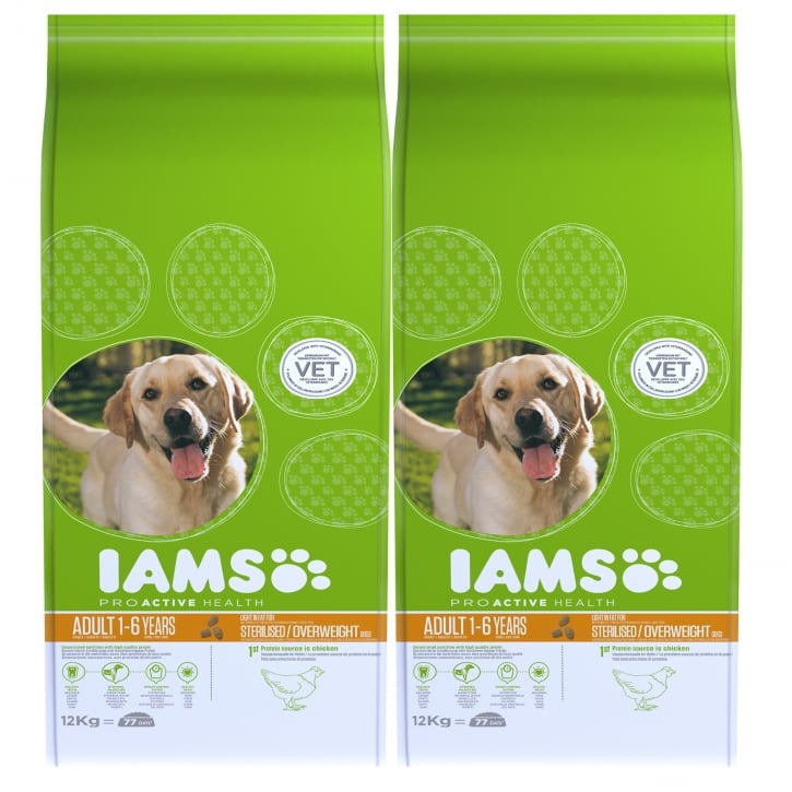 Iams Adult Light Dog In Chicken Dog Food 2 x 12kg