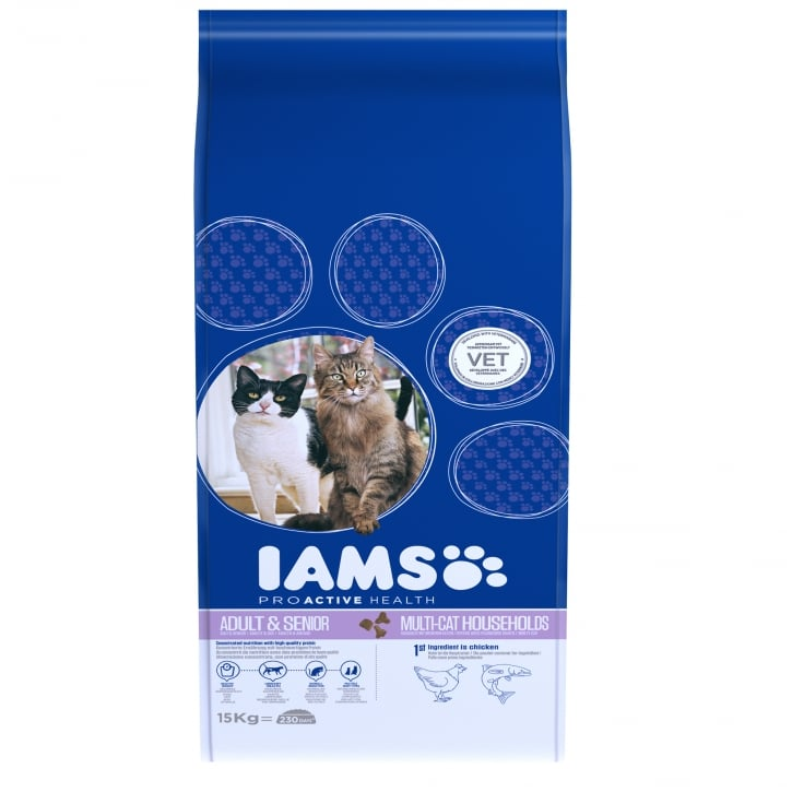 Iams Adult & Senior Multi-Cat Households Cat Food 15kg