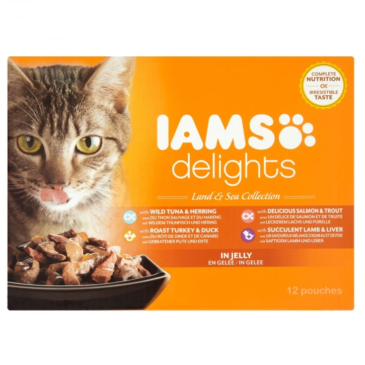 Iams Delights Cat Wet Land & Sea Collection in Jelly 12 x 85g