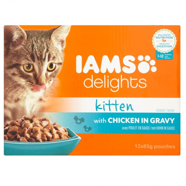 Iams Delights Kitten Chicken in Gravy Cat Food 12 x 85g Pouches