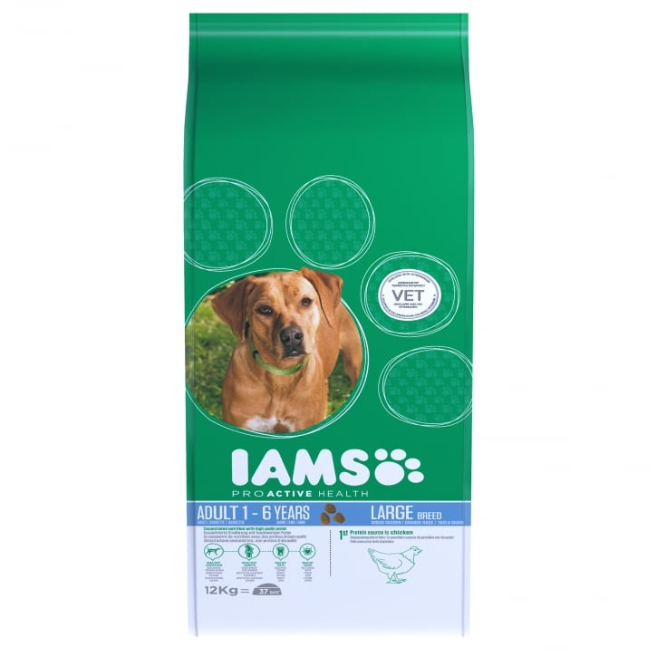 Iams Large Adult Dog In Chicken Dog Food 12kg