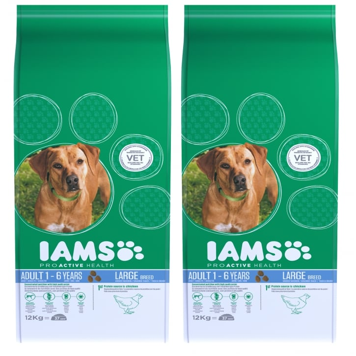 Iams Large Adult Dog In Chicken Dog Food 2 x 12kg