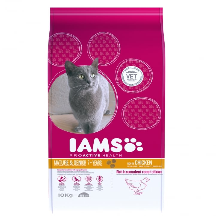 Iams Mature & Senior Cat in Chicken Cat Food 10kg