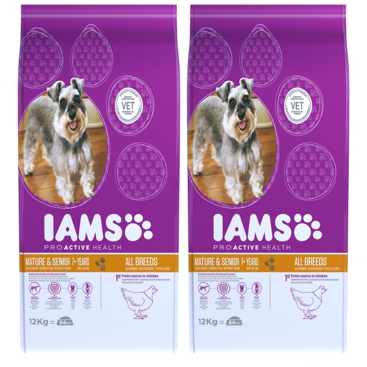 Iams Mature & Senior Dog In Chicken Dog Food 2 X 12kg