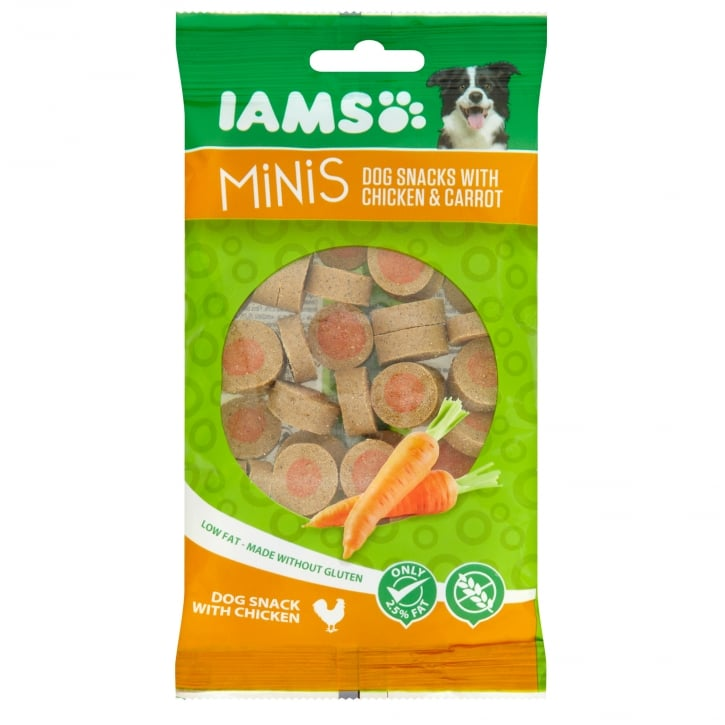 Iams Minis Dog Snacks with Chicken & Carrot 100g