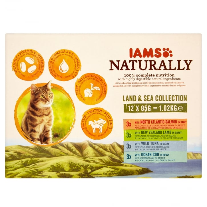 Iams Naturally Adult Cat Land & Sea Collection Cat Food 12 x 85g