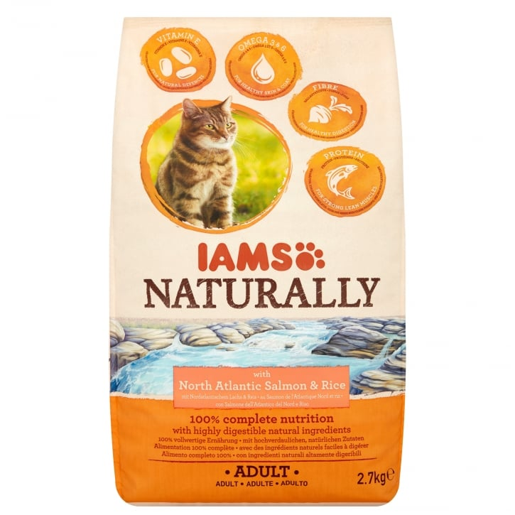 Iams Naturally Adult Cat with North Atlantic Salmon & Rice Cat Food 2.7kg