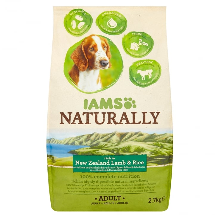 Iams Naturally Adult Dog Rich in New Zealand Lamb & Rice Dog Food 2.7kg