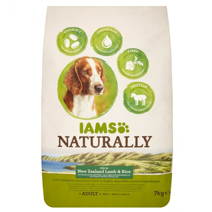 Iams Naturally Adult Dog Rich in New Zealand Lamb & Rice Dog Food 7kg