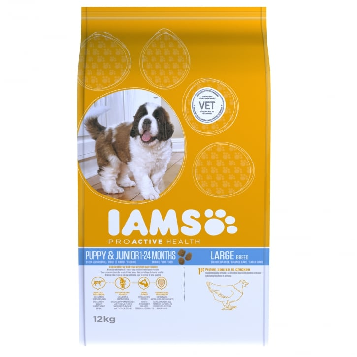 Iams Puppy & Junior Large Breed In Chicken Dog Food 12kg