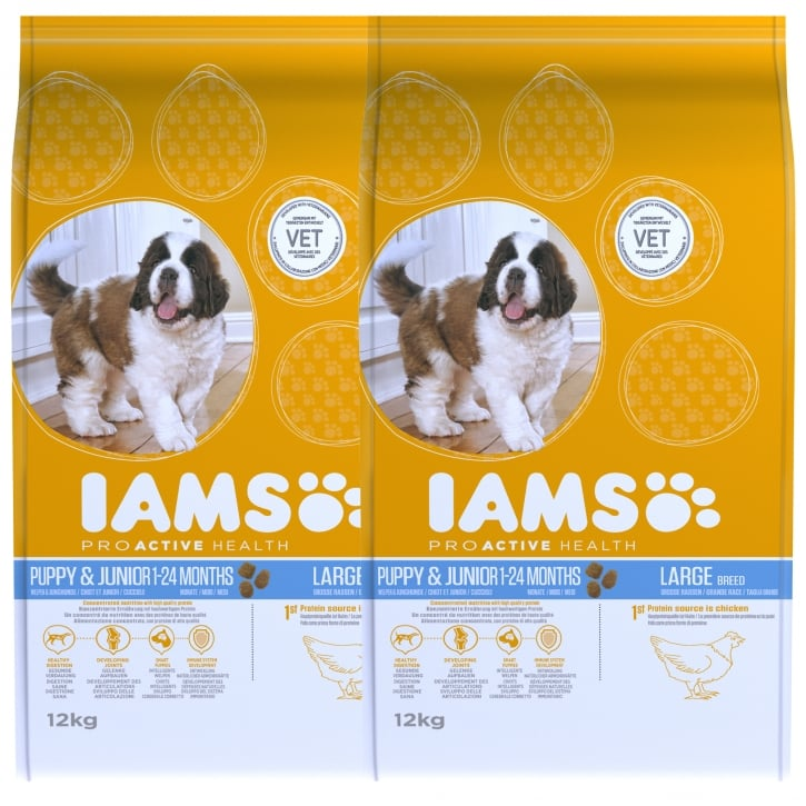 Iams Puppy & Junior Large Breed In Chicken Dog Food 2 x 12kg