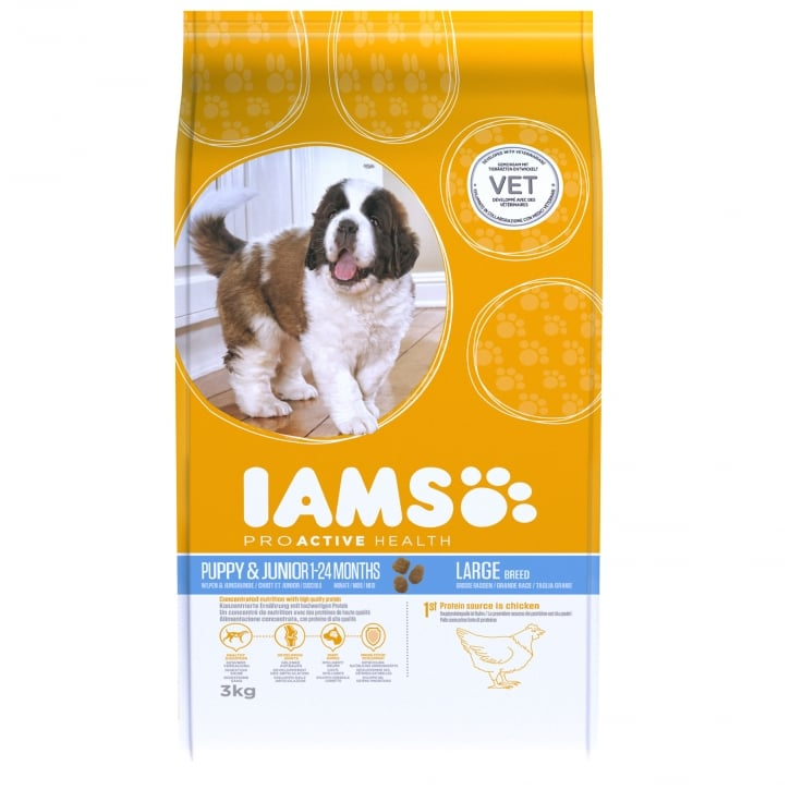 Iams Puppy & Junior Large Breed In Chicken Dog Food 3kg