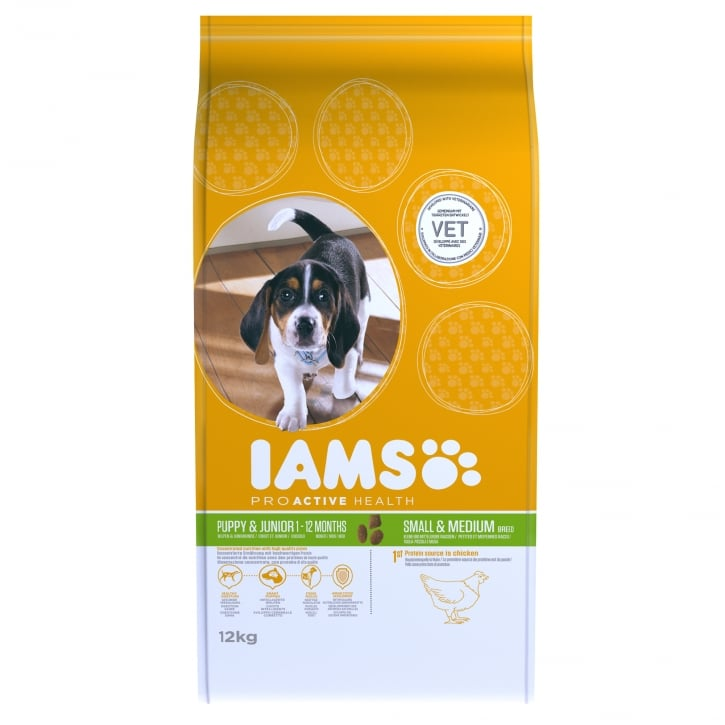 Iams Puppy & Junior Small/Medium Breed In Chicken Dog Food 12kg