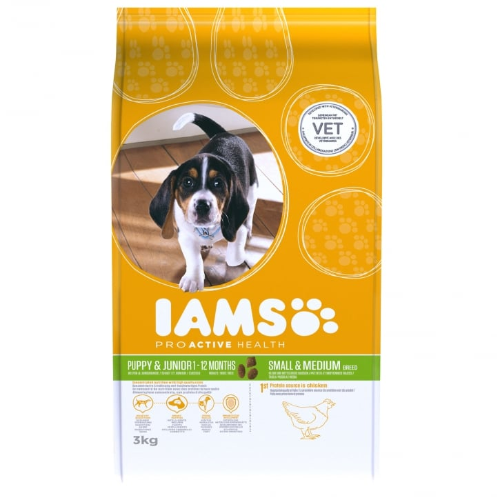 Iams Puppy & Junior Small & Medium Breed In Chicken Dog Food 3kg