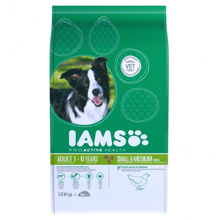 Iams Small & Medium Adult Dog Food In Chicken 12kg