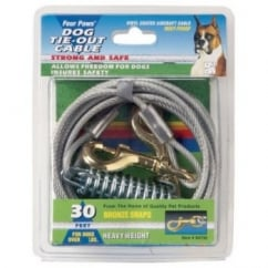 Four Paws Heavy Weight Dog Tie Out Cable Silver 20'