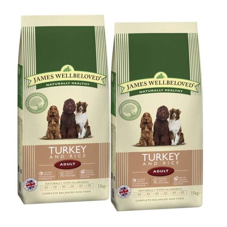 James Wellbeloved Adult Turkey & Rice Dog Food 2 x 15kg