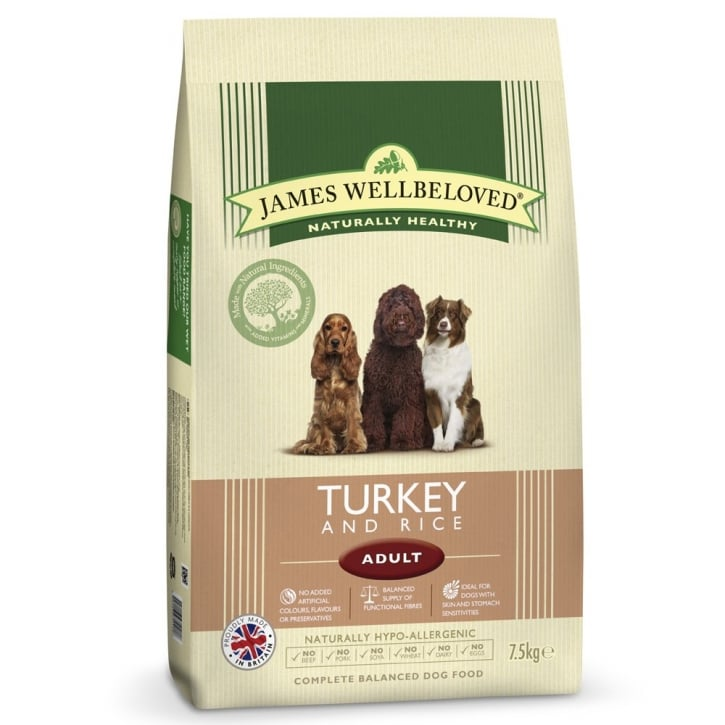 James Wellbeloved Adult Turkey & Rice Dog Food 7.5kg