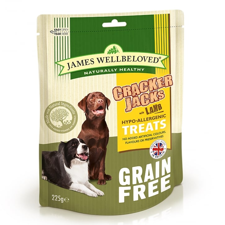 James Wellbeloved Crackerjacks Grain Free Lamb Dog Treat 225g