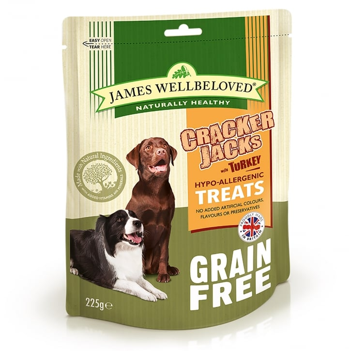 James Wellbeloved Crackerjacks Grain Free Turkey Dog Treat 225g