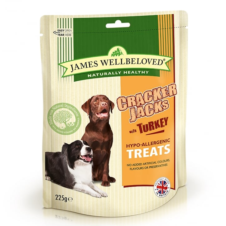 James Wellbeloved Crackerjacks Turkey Dog Treat 225g