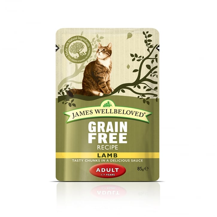 James Wellbeloved Grain Free Adult Cat Lamb Cat Pouch 12 x 85g
