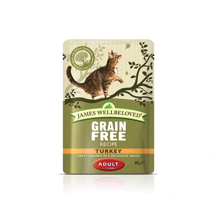 James Wellbeloved Grain Free Adult Cat Turkey Cat Pouch 12 x 85g