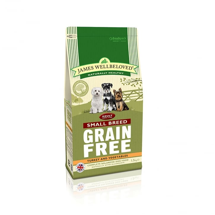 James Wellbeloved Grain Free Adult Small Breed Turkey & Vegetable Dog Food 1.5kg