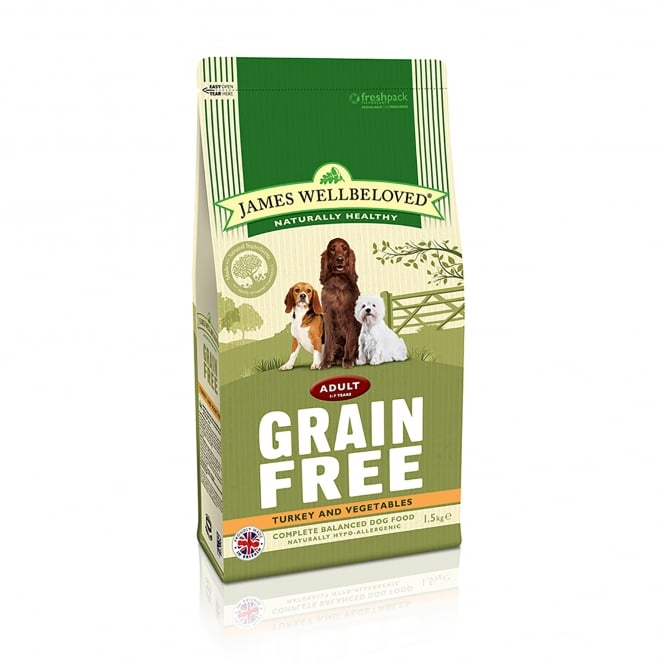 James Wellbeloved Grain Free Adult Turkey & Vegetable Dog Food 1.5kg