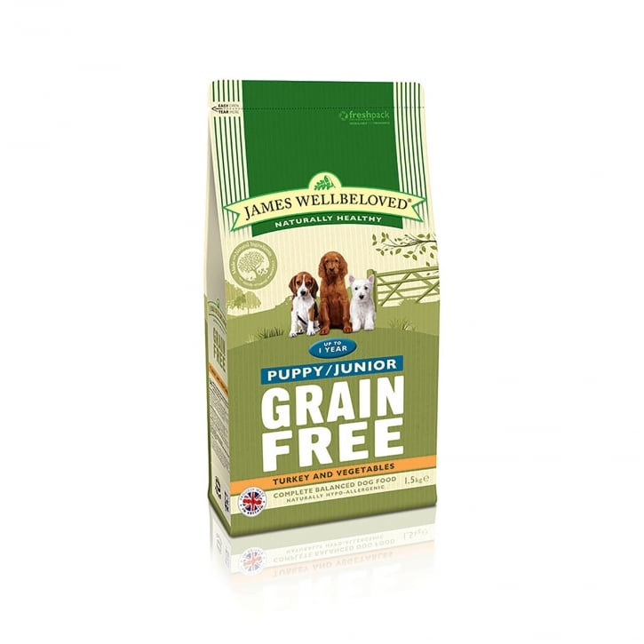 James Wellbeloved Grain Free Puppy/Junior Turkey & Vegetable Dog Food 1.5kg