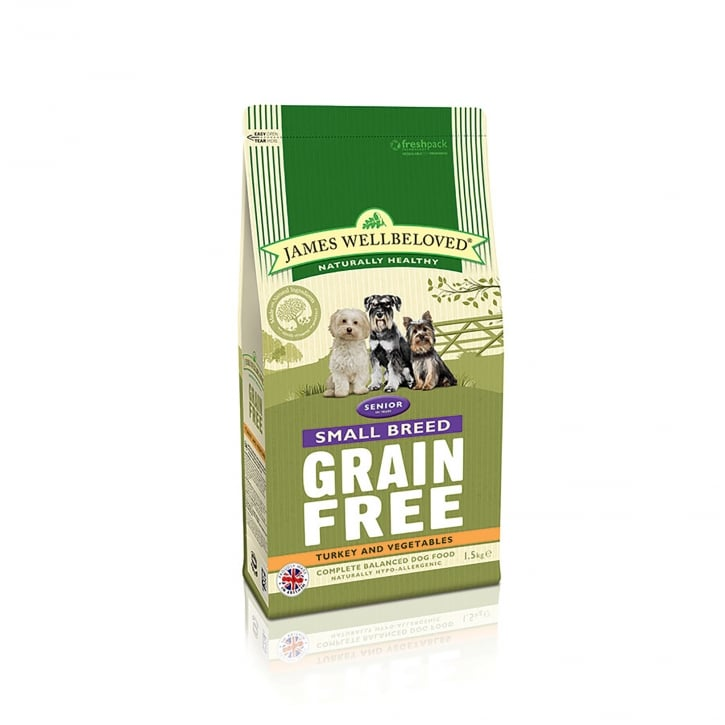 James Wellbeloved Grain Free Senior Small Breed Turkey & Vegetable Dog Food 1.5kg